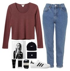 """""""mom jeans"""" by alienxo ❤ liked on Polyvore featuring Monki, Topshop, Bobbi Brown Cosmetics, Cassia, adidas Originals, NIKE, women's clothing, women's fashion, women and female"""