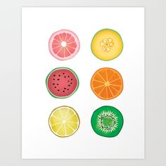 Colorful Collages Fruit Slices Art Print by Lindsey Kay Nichols | Society6