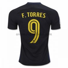 Billige Fodboldtrøjer Atletico Madrid 2016-17 Fernando Torres 9 Kortærmet Udebanetrøje