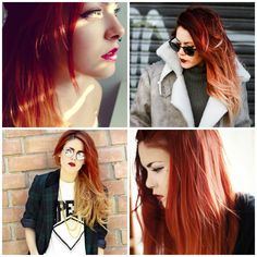 red ombre hair shatush rosso capelli lunghi 2014