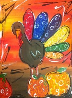 painting with a twist Turkey Painting, Time Painting, Autumn Painting, Autumn Art, Painting For Kids, Rock Painting, Fall Canvas, Kids Canvas, Canvas Art