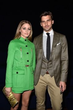 Olivia Palermo en Johannes Huebl bij Valentino  - Front Row In Parijs - Party's - People