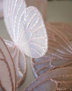 Organza Mini Papillon Embellissement X 5 blanc Set 2