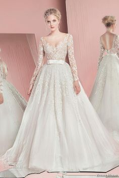 Lace Wedding Dresses Vera Wang 2016 New Spring Zuhair Murad Lace Wedding Dress With Illusion Long Sleeves Deep V Neck Backless Applique Sash Wedding Party Bridal Gown Romantic Lace Wedding Dresses From Whiteone, $151.91  Dhgate.Com