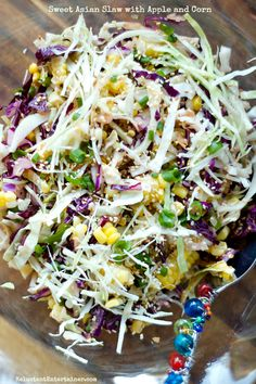 Sweet Asian Slaw with Apple and Corn #MemorialDay