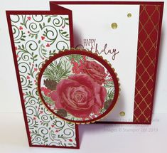 Use the Christmastime Is Here Designer Paper to the Suite to make a Z Fold Rose Birthday Card. It's not just for the holidays! design Christmastime Is Here Z Fold Rose Birthday Card Christmas Rose, Stampin Up Christmas, Handmade Christmas, Making Greeting Cards, Holiday Cards, Christmas Cards, Holiday Ideas, Fancy Fold Cards, Folded Cards
