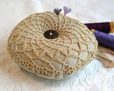 fiberluscious: Make A Frilly Doily Pincushion Tutorial