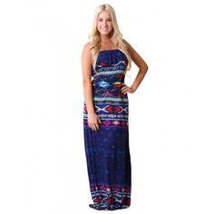 Abstract Ruffle Maxi #Dress