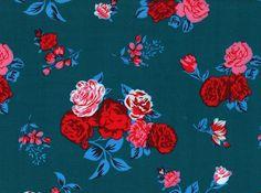 Retro Floral Rayon Challis Deep Teal