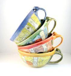 Ceramic Soup Mugs Set of Four, Unique Coffee Mugs artistic bowls handles, cappucino latte cups - oversized mug handled soup bowls