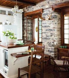 exposed brick in a French Country kitchen