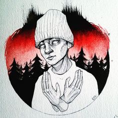 /| Down in the forest We'll sing a chorus One that everybody knows Hands held higher, We'll be on fire Singing songs that nobody wrote. - I got some proper watercolour paper aye | #cliqueart #twentyonepilots #art #skeletonclique #tylerjoseph #tøp