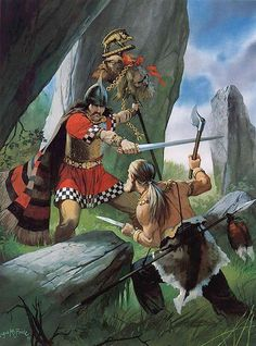 "gaesatae: "" ""Celt fighting German, Central Europe, circa 100 BC."" Art by Angus McBride. """