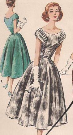 Boatneck Dress with Gathered Bodice Rachelle by stinigurl on Etsy, $179.00