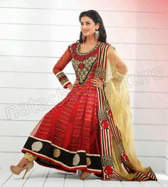 New Party Wear Indian Anarkali Frocks 2014 By Sonal Chauhan For Young Girls | 7pm Dress