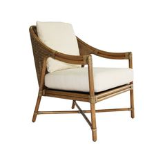 Selamat Designs A well-proportioned accent or lounge chair with mid-century styling, the Linwood Chair features double-walled caning, upholstered loose cushions, leather-wrapped joints.