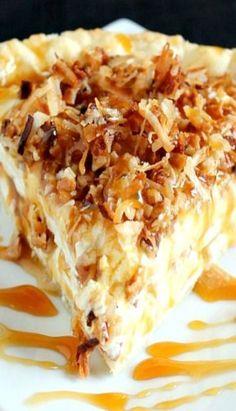 Caramel Coconut Cream Pie Recipe ~ looks crazy delicious! Delicious Desserts, Dessert Recipes, Yummy Food, Healthy Food, Cream Pie Recipes, Pecan Cream Pie Recipe, Coconut Cream Pies, Coconut Custard, Sweet Recipes