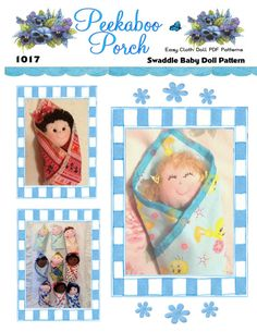 "Cuddly 8"" Swaddle Baby First Doll Pattern with permanently attached blanket includes 9 different faces and 9 different hairstyles. All variations are included in this pattern. Combine these hair and face patterns with your favorite fabrics or fabric scraps and colors in any way you choose for endless possibilities! Great beginner sewing pattern for cloth dolls. These Swaddle Baby Dolls are just like potato chips...You cant make just one! :o)    Full size pattern pieces, just print, cut and…"