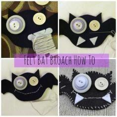 DIY Tutorial DIY Button / DIY Felt Bat Halloween Brooch - Bead&Cord