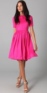 So pretty in hot pink with a full skirt. #dress