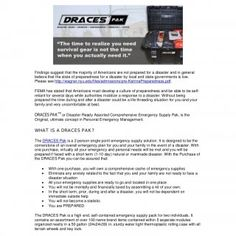DRACES Pak - The Ultimate High End Survival Kit Findings suggest that the majority of Americans are not prepared for a disaster and in general believe that. http://slidehot.com/resources/draces-pak-the-ultimate-high-end-survival-kit.59067/