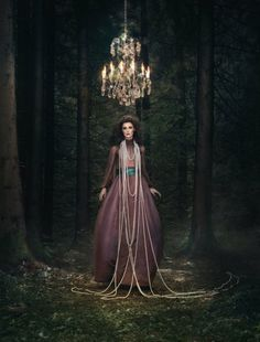 not that you would find a chandelier in a forest but i like this image a lot...-eh