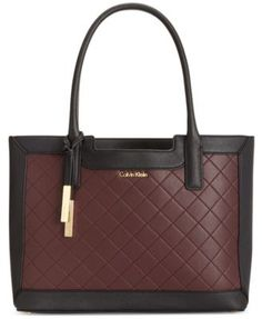 Calvin Klein Quilted-Panel Saffiano Leather Tote | macys.com
