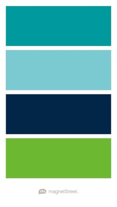 Teal, Turquoise, Navy, and Kiwi Wedding Color Palette - custom color palette created at MagnetStreet.com