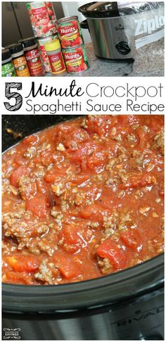 Spaghetti Sauce Recipe from Scratch! This only takes 5 minutes to throw together in the crockpot for dinner!
