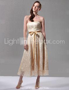 A-line Strapless Sleeveless Tea-length Lace Over Stretch Satin Bridesmaid Dress