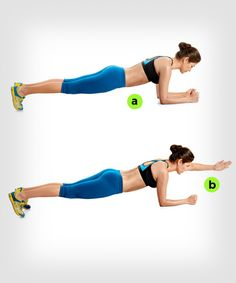 Plank with Arm Extension | 7 Ways to Make Planks Harder http://www.womenshealthmag.com/fitness/plank-exercise