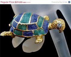 On Sale Vintage Turtle Enamel Brooch Blue Green Rhinestone Gold Figural Pin
