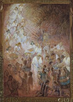 Look to Your Children by Minerva Teichert Story from the Book of Mormon when Christ came to the Americas and blessed the children. Lds Art, Bible Art, Minerva Teichert, Doctrine And Covenants, Bible Pictures, Biblical Art, Art Store, Christian Art, Religious Art