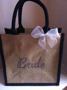 Personalised Bridal Wedding Day Jute Tote Bag with silver sparkles available from www.HarlieLoves.co.uk