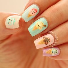 Ice Cream Soft Toy nail art inspired by @friendsofsocktopus ~ for the July  @clairestelle8challenge ~ ~ by Kathryn on IG @my_candid_heart