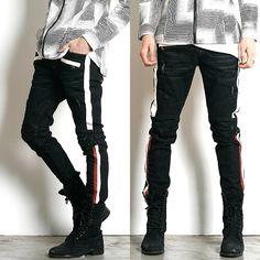 Remember Click Stripe Side Skinny Denim Jeans BLACK S M L Korean Wear #RememberClick #SlimSkinny
