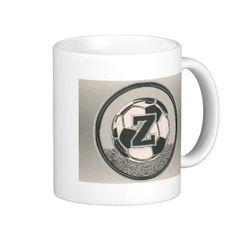 Silver Medal Soccer Monogram Letter Z Mug