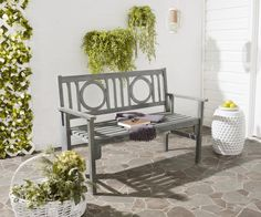Safavieh Furniture PAT6714A - Pretty and practical, the Piedmont folding bench is a contemporary update of classic British garden seating. Circle insets distinguish a slatted seat back