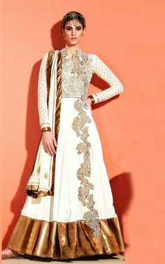 OFF WHITE GEORGETTE ANARKALI SALWAR KAMEEZ - SLF 9657