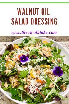Oil Dressing Recipe, Salad Dressing Recipes, Salad Dressings, Seven Layer Salad, Leafy Salad, Walnut Recipes, Walnut Oil, Walnut Salad, Vegan Recipes Easy