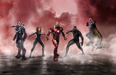 Captain America Civil War - L'équipe Iron Man : War Machine (Don Cheadle), Black Widow (Scarlet Johansson), Black Panther (Chadwick Boseman) et la Vision (Paul Bettany)