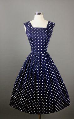 Vintage Elegant Navy Polka Dots