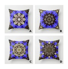 Blue and white floral mandala throw pillow cover by RVJamesDesigns, $29.95
