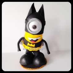 Batman inspired minion is my latest fofucho doll. He is handmade using foam sheets. Stands at about 10 inches. Can be a perfect cake topper or centerpiece for a Superhero Minion theme party. Keep it as a decoration as a decoration in your child's room after the party. To purchase email info@fofuchas.org or visit us at www.facebook.com/FofuchasHandmadeDolls #Minions #Superheros #fofuchas #birthday #batman
