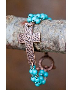 Women's Hammered Copper Cross and Turqoise Bead Toggle Bracelet Via Country Outfitters