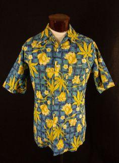 5f783ae794 Vintage Don Loper Blue Wicker  amp  Yellow Hibiscus Print Hawaiian Shirt -L-Tall