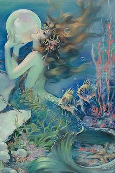 CafePress Art Deco Art Nouveau Mermaid With Pearl Pin Up Sho Shower Curtain - Standard White Fantasy Kunst, Fantasy Art, Art Nouveau, Art Deco, Mermaid Fairy, Mermaid Lagoon, Vintage Mermaid, Mermaids And Mermen, Fantasy Mermaids
