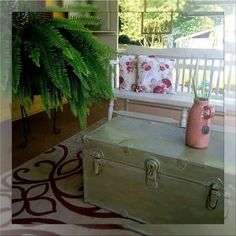 On the porch at Junk Mama's General Store you will find these beauties! They painted the trunk with Dixie Belle Holy Guacamole and then glazed with Whitewash glaze. The bench was done with Drop Cloth! Instant treasures!