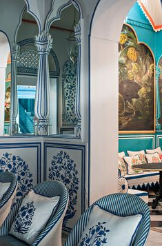 <p>Bar Palladio is a carefully designed European style bar inside one of Jaipur's most historic hotels, the Narain Niwas Palace Hotel. The hotspot's stylish design was created by Marie-Anne Oudejans who aims to combine Italian and indian traditions into one. From the crisp blue and white florals, to the ticking patterns on the chairs, Bar…</p>