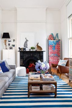 51 Amazing Bohemian Living Room Designs : 51 Bohemian Living Room Designs With White Walls Fireplace Grey Sofa Blue Carpet Wooden Table Window Lamp Cupboard Hardwood Floor Home Living Room, Living Room Designs, Living Spaces, Living Area, Living Room Inspiration, Interior Inspiration, Style At Home, Bohemian Living, Bohemian Style
